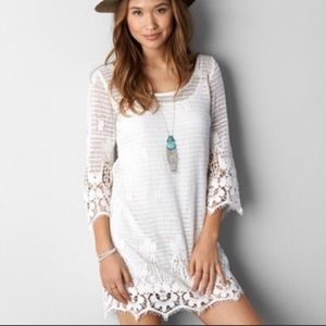 AEO boho crotchet knit 3/4 sleeve slip dress— XS/S